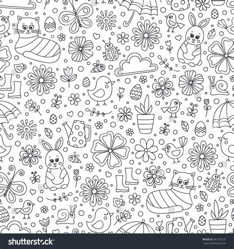 doodle pattern vector spring doodle pattern seamless vector pattern stock vector