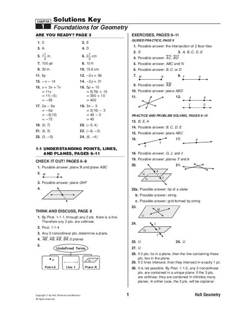 Points Lines And Planes Worksheet Answers Unit 1 Lesson 1