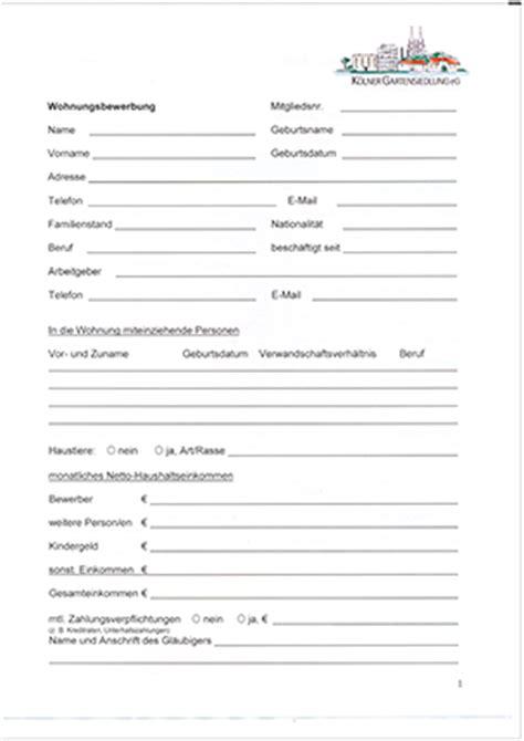 Bewerbung Wohnung Formular Formulare