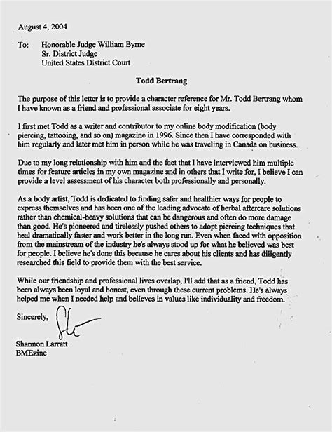 Character Letter To Immigration Judge The Framing Of Todd Bertrang