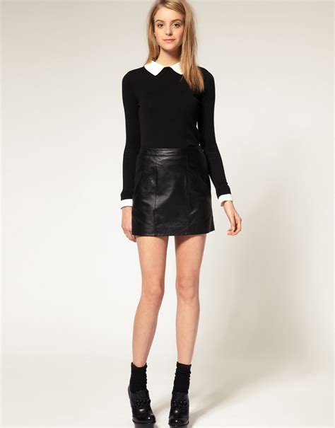 leather mini skirt with stitch detail design sheplanet