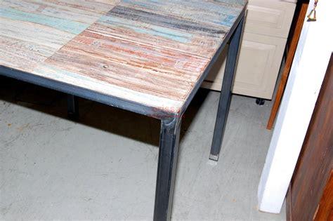 tavoli in legno e ferro tavolo shabby con base in ferro sht002 orissa