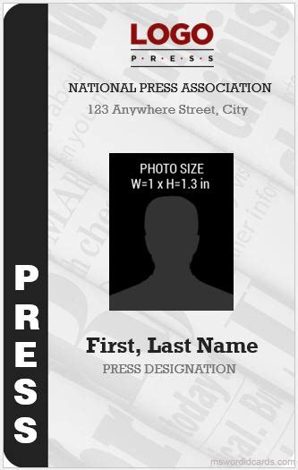 press reporter id card templates microsoft word id card templates