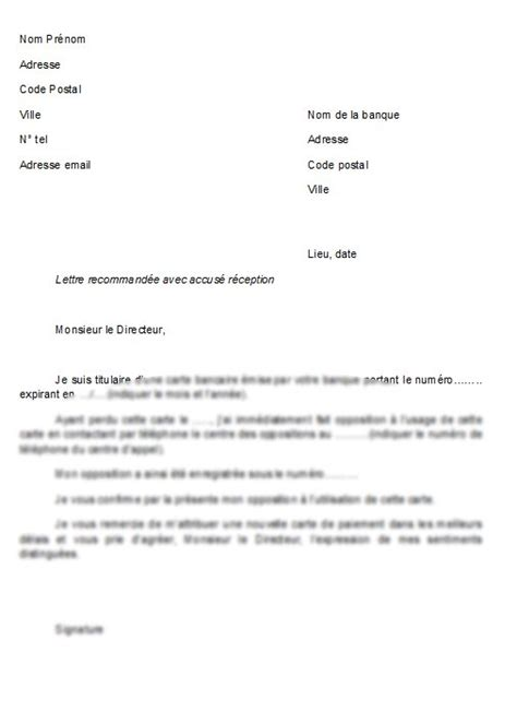 modele lettre banque opposition