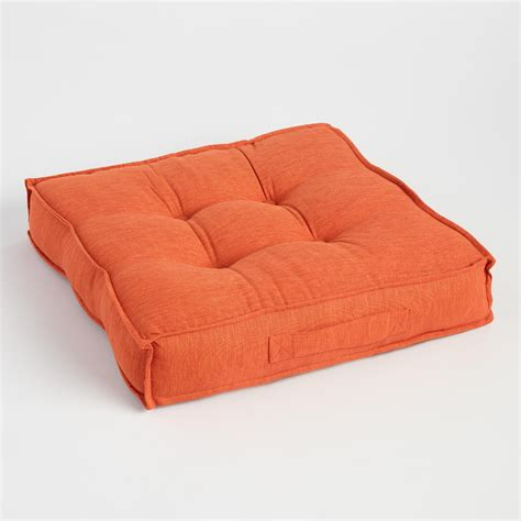 Floor Pillow orange khadi tufted floor cushion world market