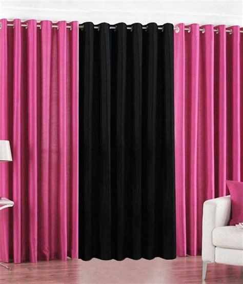 long pink curtains pindia set of 3pc plain eyelet long door curtains pink