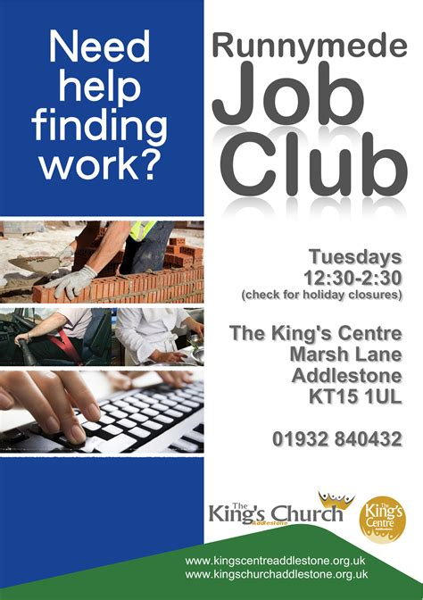 club flyer design jobs runnymede job club the king s centre