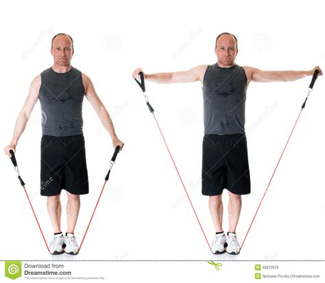 lateral resistor band exercises lateral raise stock photo image 55612675