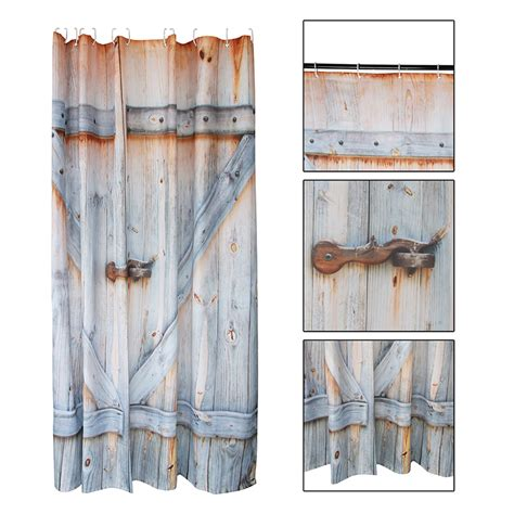 Rustic Country Shower Curtains Rustic Country Decor Fabric Shower Curtain Barn Shed Farm Doors Wood Board Ebay
