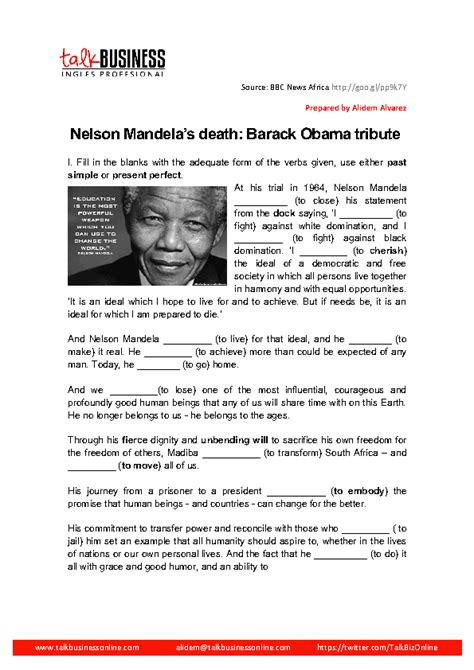 nelson mandela esl biography 39 free newspaper english worksheets