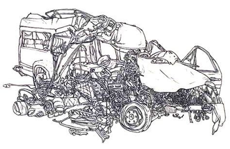 coloring page of car crash crashed cars netart