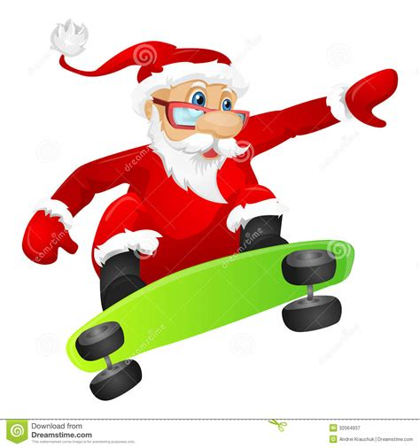 Santa Claus Stock Vector Image Of Adult Character Click Santa Claus Skateboard
