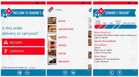 domino pizza app dominos pizza app hits windows phone 8 ubergizmo