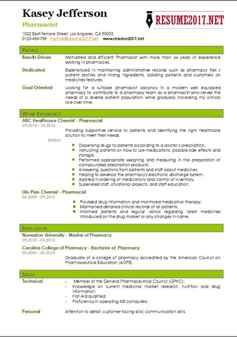 Pharmacist Resume Exle by Pharmacy Resume Related Post 11 Pharmacy Resume