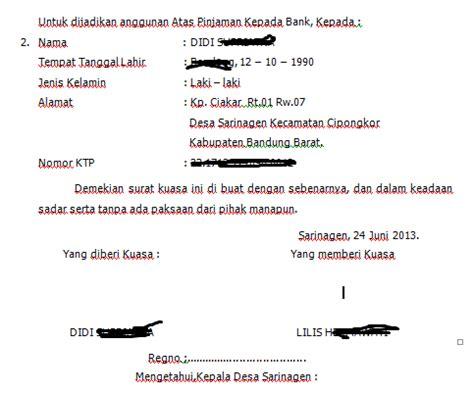 contoh dan cara membuat surat kuasa atas tanah kumpulan