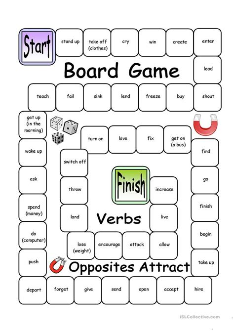 printable games with the verb to be board game opposites attract verbs worksheet free