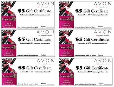 printable avon gift certificates pin by wealth generating mom on free avon printables