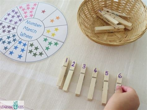 printable number match counting wheel learning  kids