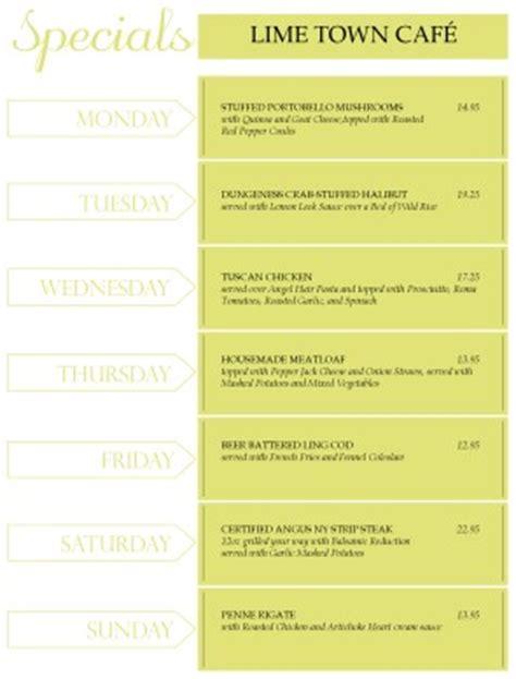 weekly specials menu daily special menus