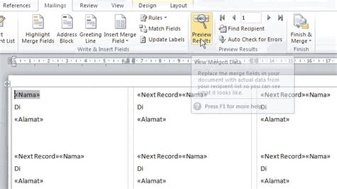 tutorial membuat label undangan word 2010 membuat undangan di ms word 2010 membuat label undangan di