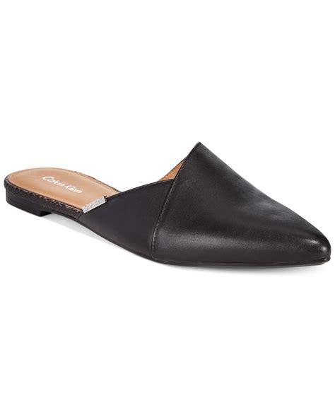 calvin klein shoes flats calvin klein garnett flats in black black leather