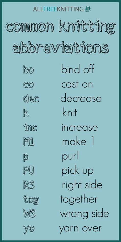 knitting terms 25 best ideas about knitting abbreviations on