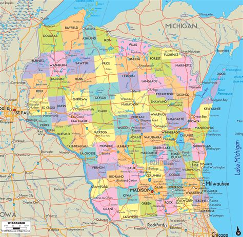 wisconsin counties map detailed political map of wisconsin ezilon maps