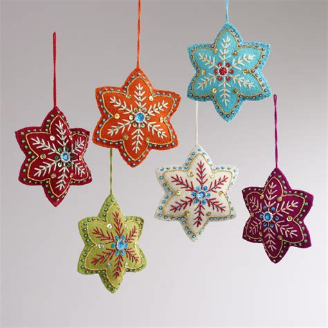embroidered felt 6 pointed star ornaments set of 6 felt