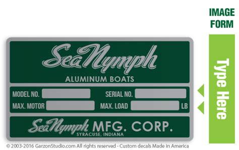 old boat decals sea nymph maximum capacities plate decal 4 5x2 5 green