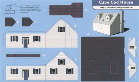 Make A House Out Of Paper - cape cod house cut out postcard card stock miniatures