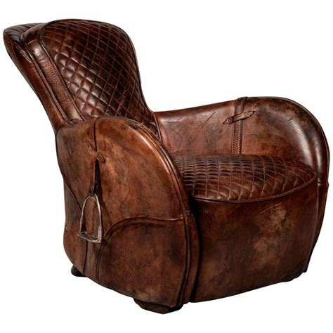 Saddle Armchair by Saddle Brown Armchair In Genuine Vintage Brown Leather