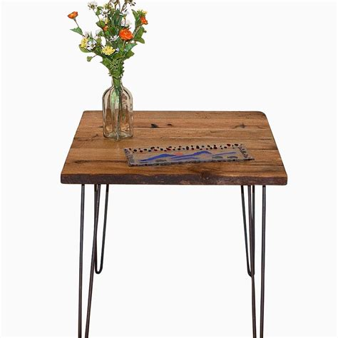 wood table hairpin legs buy made reclaimed wood end table with hairpin legs