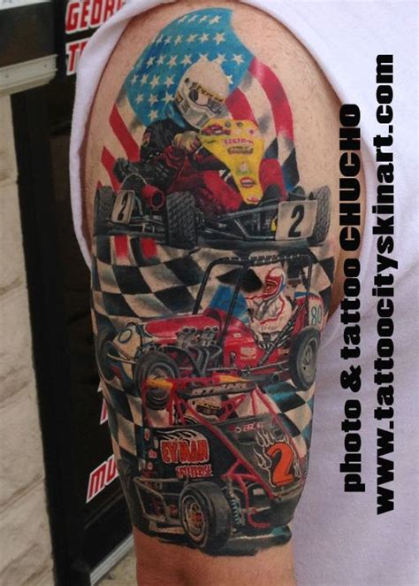 racing tattoo designs nascar racecar go kart american flag checker flag