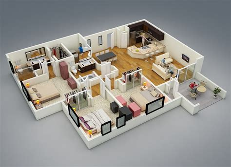 3d 3 Bedroom House Plans | 25 more 3 bedroom 3d floor plans