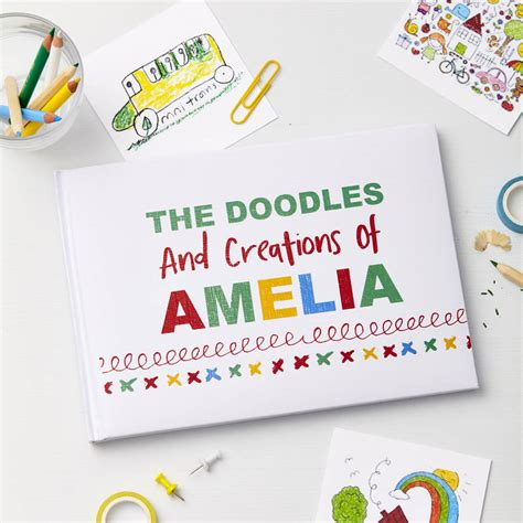 child s personalised doodle drawing book by tilliemint