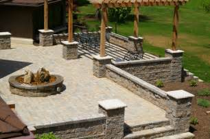 outdoor raised patios and landings landscape other by allan block retaining wall and patio