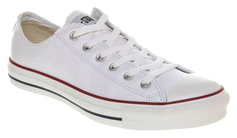 converse all leather ox low white trainers shoes