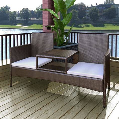 two seater bench with table vidaxl brown poly rattan two seater bench with tea table