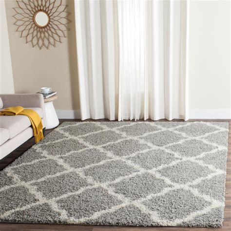 Safavieh Shag Rugs by Safavieh Dallas Shag Gray Ivory 5 Ft 1 In X 7 Ft 6 In