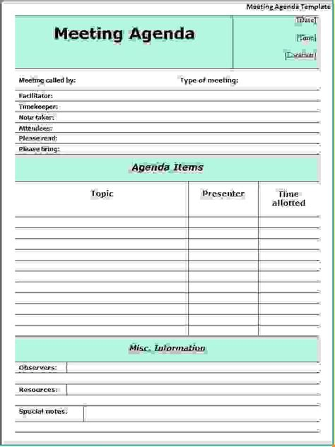 meeting schedule template 8 meeting agenda exleagenda template sle agenda