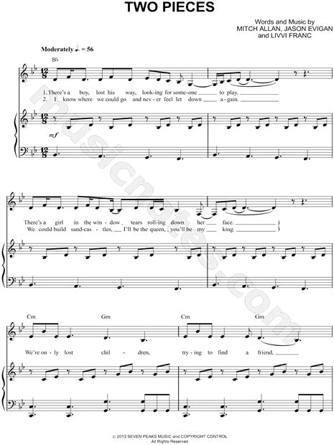 demi lovato two pieces lyrics az demi lovato quot two pieces quot sheet music in bb major