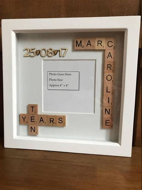 Personalised Scrabble Photo Box Frame. Anniversary