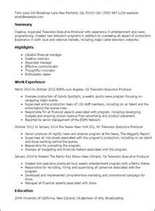 Producer Resume by Professional Television Executive Producer Templates To Showcase Your Talent Myperfectresume