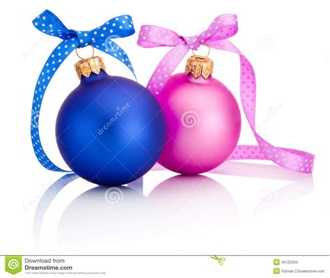 christmas ball blue and pink with ribbon bow isolated on