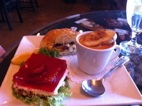 chocolate cafe and tea room three tomato basil soup chicken salad on a croissant and the strawberry pretzel