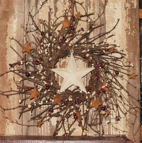 stars home decor twig stars barn star star wreath barn star wreath twig berry wreath country primitive decor