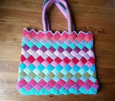 crochet tote bag pattern pinterest ravelry tunisian entrelac tote bag pattern by abi millard