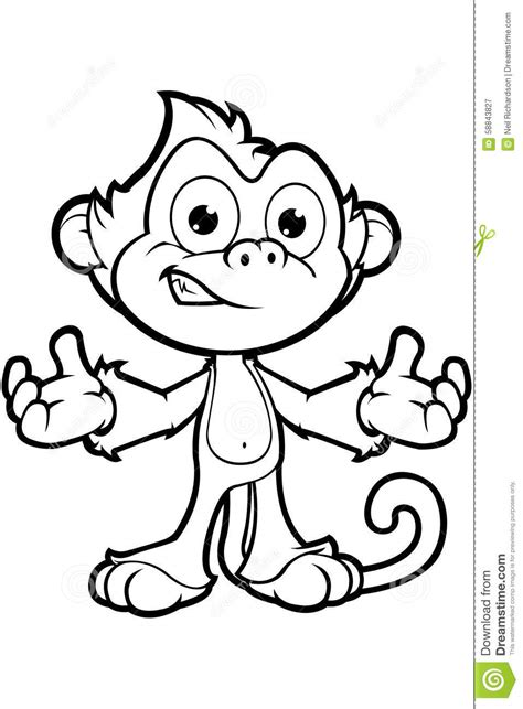 Cheeky Monkey Character In Black Amp White Stock Vector Free Childrens Coloring Sheets L