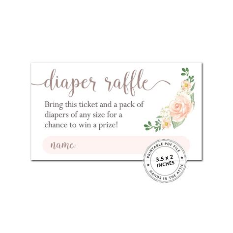 Diapers Com Gift Card - pink floral diaper raffle cards baby shower printables