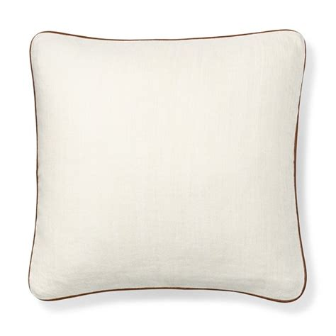 twill cotton pillow cover with leather piping white